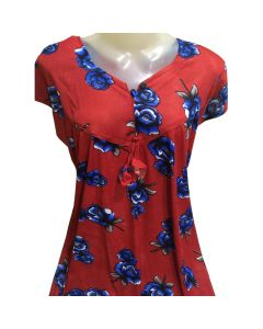 Cotton Night gown with blue flower