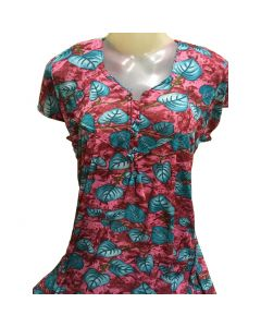 Cotton night gown with red and blue flower print