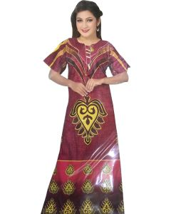 Maroon cotton night gown with beautiful heart print