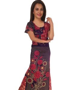 Women cotton night Gown with floral print
