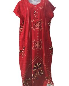 Red women fancy cotton floral print gown