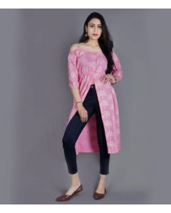 Women Printed Frontslit Off-Shoulder Kurta  (Pink)