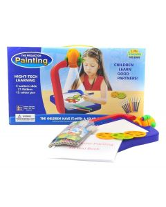 Projector Painting Activity Toy Learning Kit with Changeable Slides and 21 Shades Paper Book