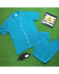 Women Polka Printed BlueTop & Pyjama Set