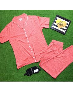 Women Polka Printed Orange Top & Pyjama Set