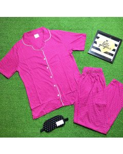 Women Polka Printed Pink Top & Pyjama Set