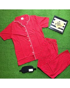 Women Polka Printed Red Top & Pyjama Set