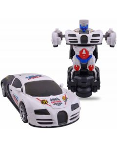 Robot Sports Car Toy with Convertible  (White)