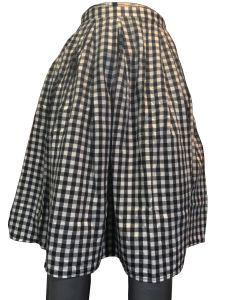 Black checks print short skirt