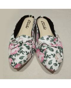 Flower Print Bellies For Women (White)