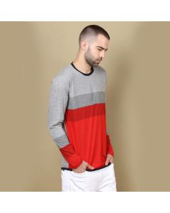 Solid Men Round Neck Grey Red T-Shirt