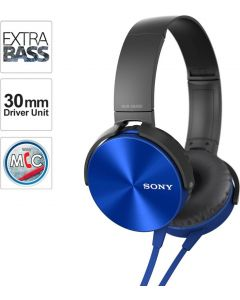 Sony XB450AP Wired Headset  (Blue, On the Ear)