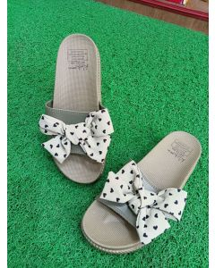 double strap ribbon slip on slippers for womens