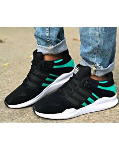 ADIDAS stylish mens sport shoes (Black with green stripes)