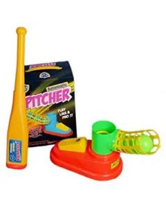 Unbreakable Automatic Pitcher Base Ball Game for Kids (1 Bat, 3 Balls, Pitcher)