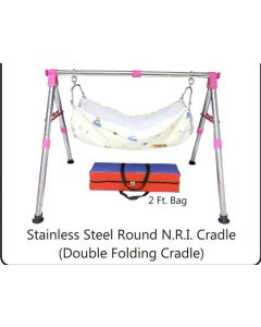 Stainless Steel Round N.R.I Cradle (Double Folding Cradle) for kids