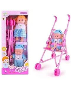 Baby Doll Stroller Fordable Baby Stroller / Fully Assembled Pretend Play Carrier Stroller Toy