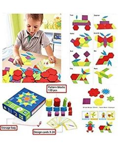 Wooden Pattern Blocks for Various Puzzles and Innovative Shapes