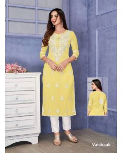 Yellow beautiful girls suit best fabric kota checks